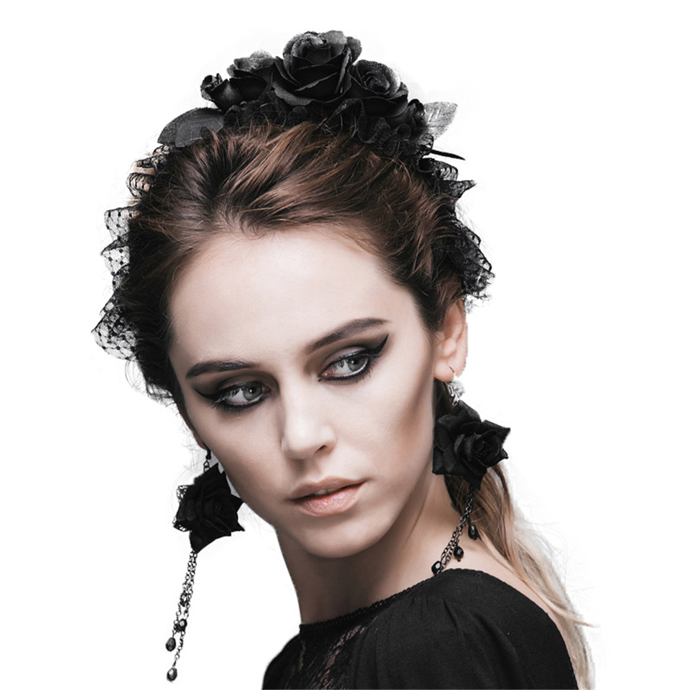 Hot Sale Gothic Five Roses Hair Band Women Fashion Devil Brand Flower Elastic Headband Black