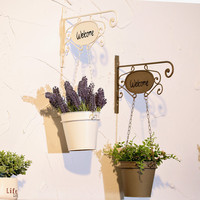 Vintage Metal Hanging Flower Pot Welcome Sign Wall Art Yard Outdoor Patio Fence Wall Decor