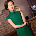2017 Qipao Chinese Traditional Dress Pink Green Cheongsams Short Sleeve Cotton Qipao Dresses Mujere Vestido Evening  Dresses