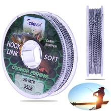 20m Braided Fishing Line Camouflage Carp Hair Rigs Super Strong Lead Fishing Line Rope The Peche Cord Wire Carp Thread15/20/35lb