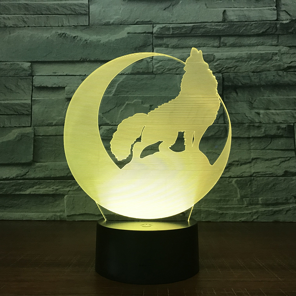 3D LED Lamp Wolf Moon Novelty Night Light Power Bank Usb Led ...