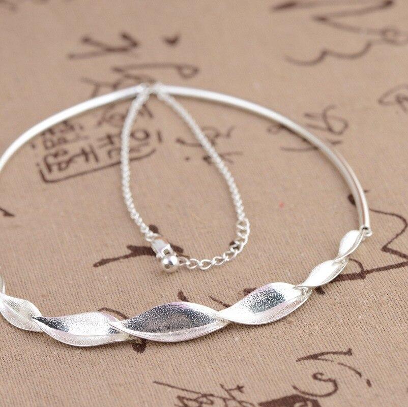 100% réel 925 en argent Sterling bambou feuilles chaîne collier pour femmes filles mode bijoux anniversaire fiançailles cadeau d'anniversaire - 2