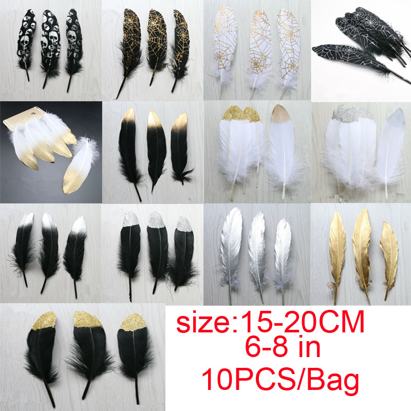New DIY gold dust silver dust feathers wedding Hallowmas party swan feather 10PCS/bag 15-20CM/6-8IN