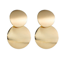 цены Euramerican alloy earrings for women round piece laminated short earring female A21
