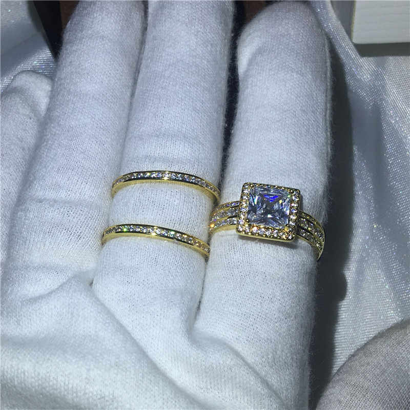 Vecalon princesa corte 3-em-1 anel conjunto de ouro amarelo preenchido 925 prata 5a zircon cz noivado casamento anéis de banda para mulher presente