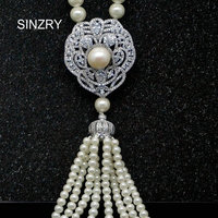 Statement Luxury Jewelry AAA Cubic Zircon Micro Paved White Gold Plated Vintage Palace Pearl Tassel Long
