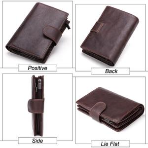 Image 4 - MISFITS cartera Vintage de cuero genuino para pasaporte con cremallera para hombre, monedero