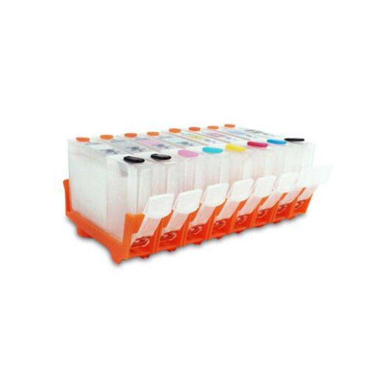Vilaxh CLI-42 BCI-43 cartuchos de tinta Recarregáveis, 8 cores (LGY BK C M Y PC PM GY) para Canon PRO-100 com Chips de Uma Vez