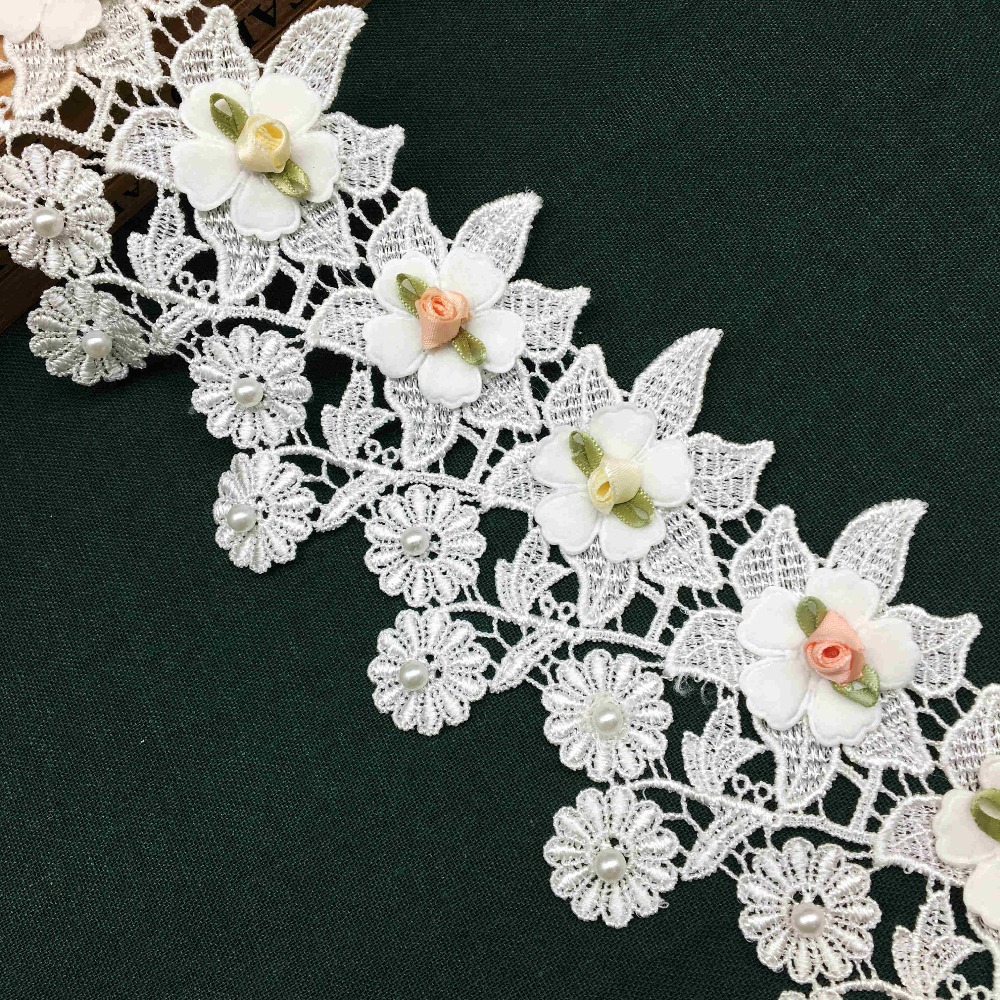 1yd Lace Ribbon Big Flower Guipure Embroidered Craft Vintage Wedding Decoration