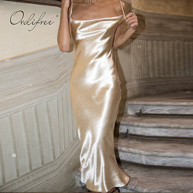 Ordifree 2019 Summer Women Satin Slip Dress Spaghetti Strap Sexy Backless Maxi Dress Gold Silk Long Dress