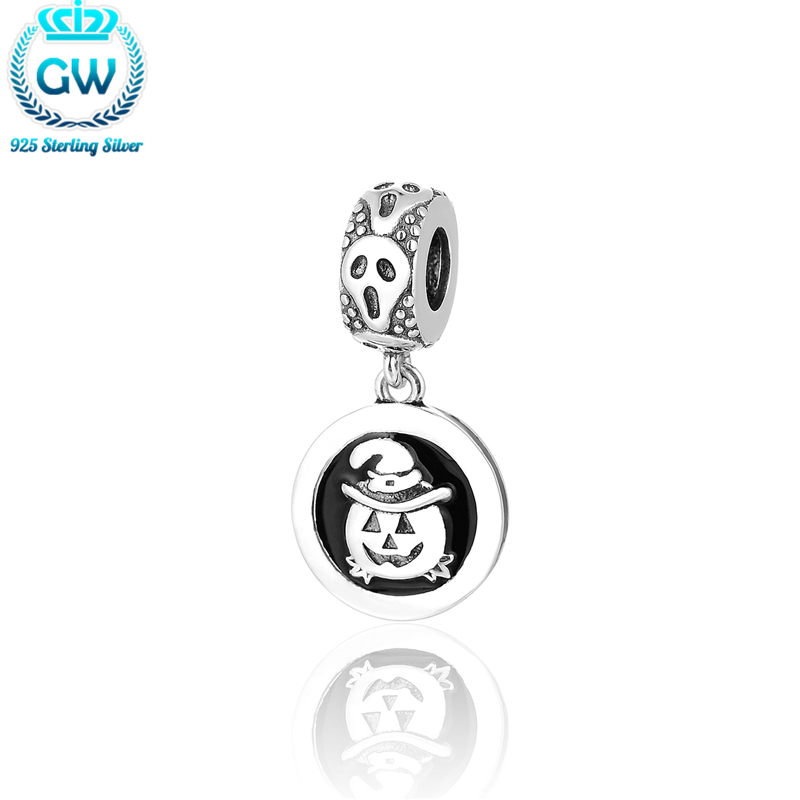 Breloque Vintage Charms Halloween Jewelry 925 Silver Pumpkin Charm For DIY Brand Gw Jewellery Making S475-15