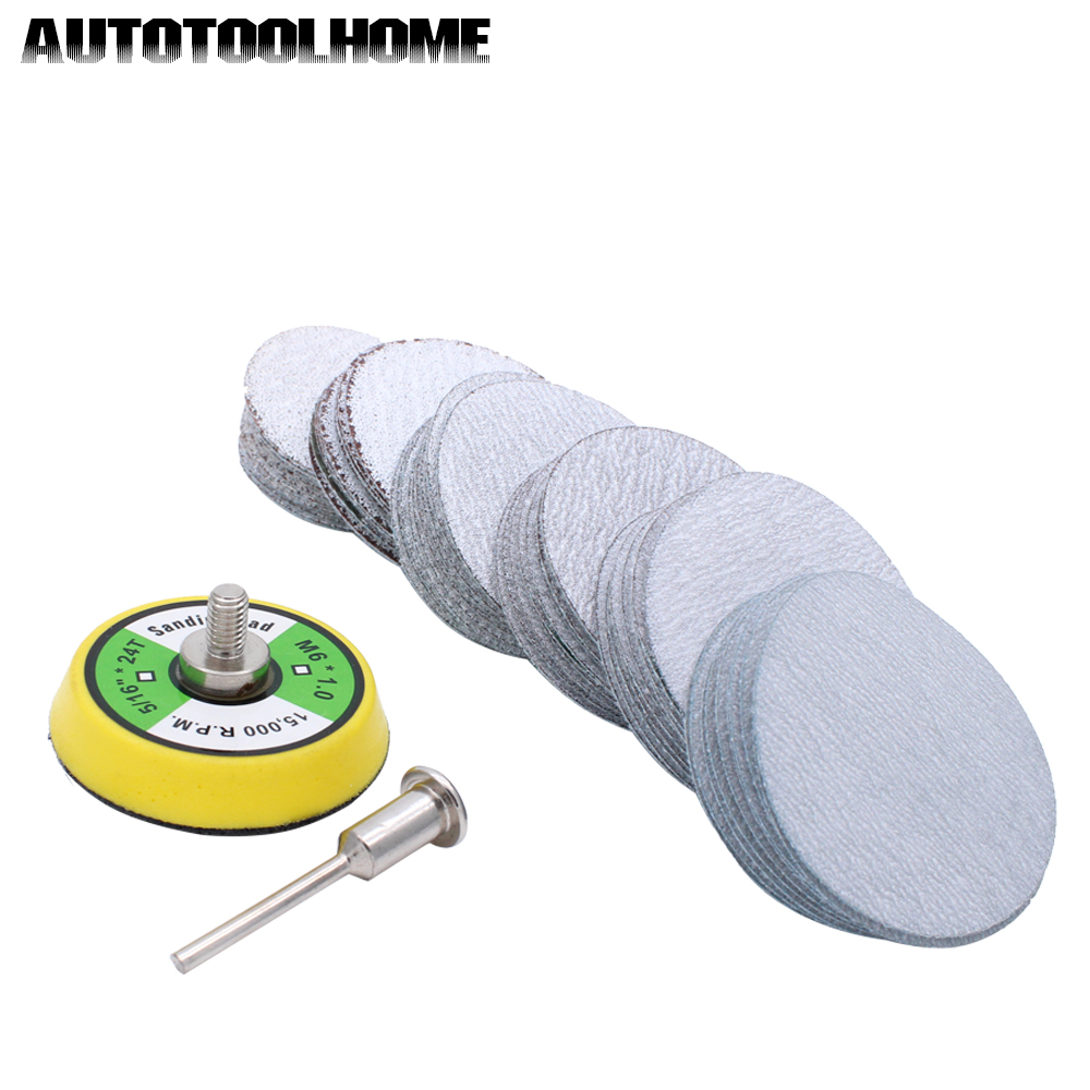 61pc/set 80-600 Mixed Grit 2 Inch Sander Disc Sanding Disk Sand Paper with 50mm Polish Pad Plate for Dremel 3000 Abrasive Tools free shipping electric disc sander tool accessories plastic pad plate tray for makita gv6000 high quality