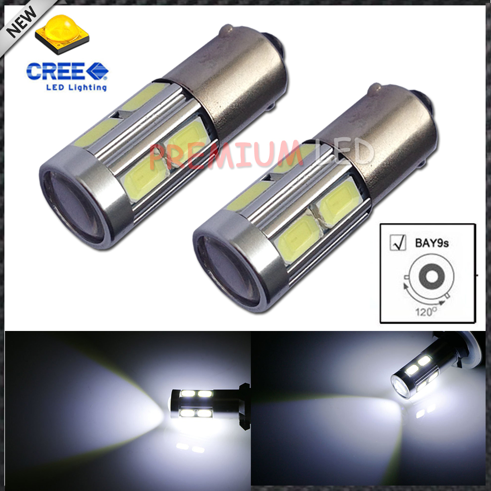 2pcs High Power 11w HID White H21W BAY9s 120 degress CRE'E LED Lens Bulbs for Backup or Parking Lights, Base: h21w, bay9s