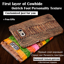 Back Case For Asus ZenFone 3 ZE552KL 5.5″ Top Quality Ostrich Texture Genuine Leather Customize Phone Rear Cover + Free Gift