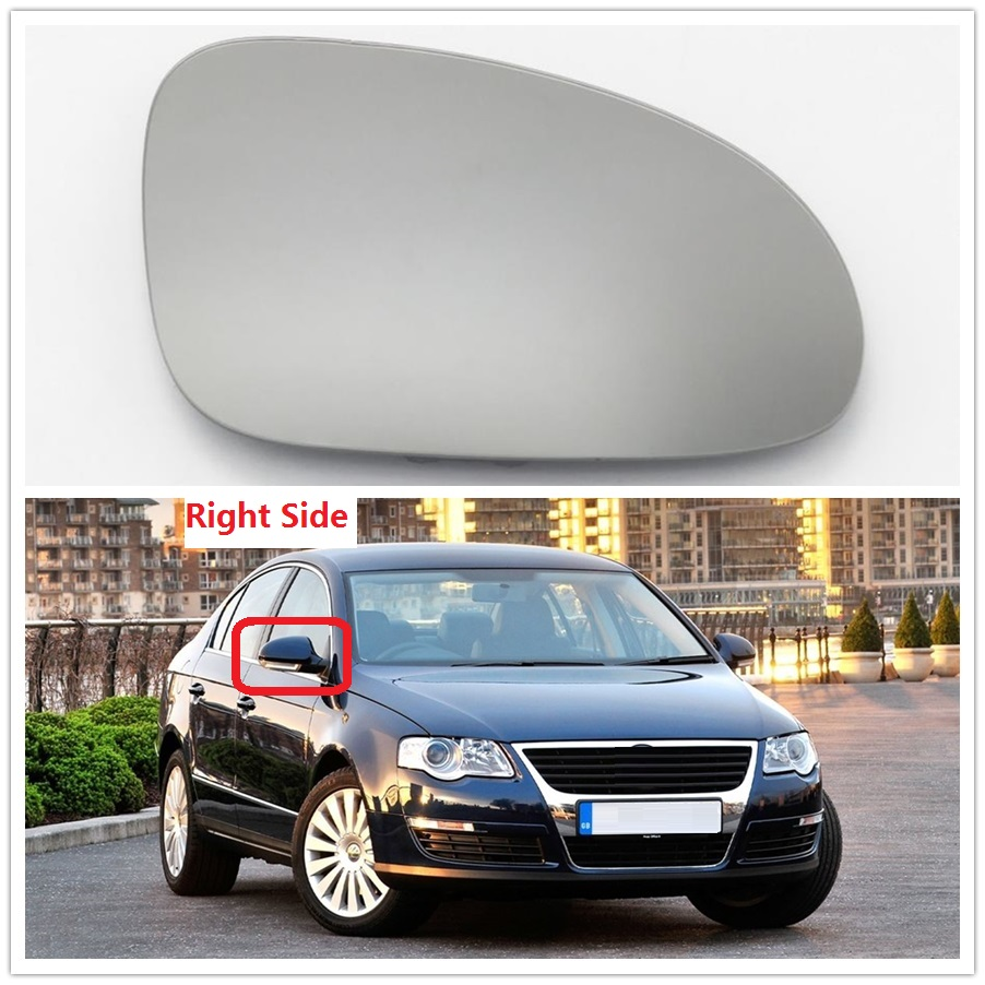Mirror Glass w//Backing Plate for VW CC EOS Passat Driver Left Side Heated
