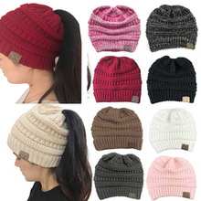 7e43fca9e84 CC Ponytail Beanie Hat Women Crochet Knit Cap Winter Skullies Beanies Warm  Caps Female Knitted Stylish