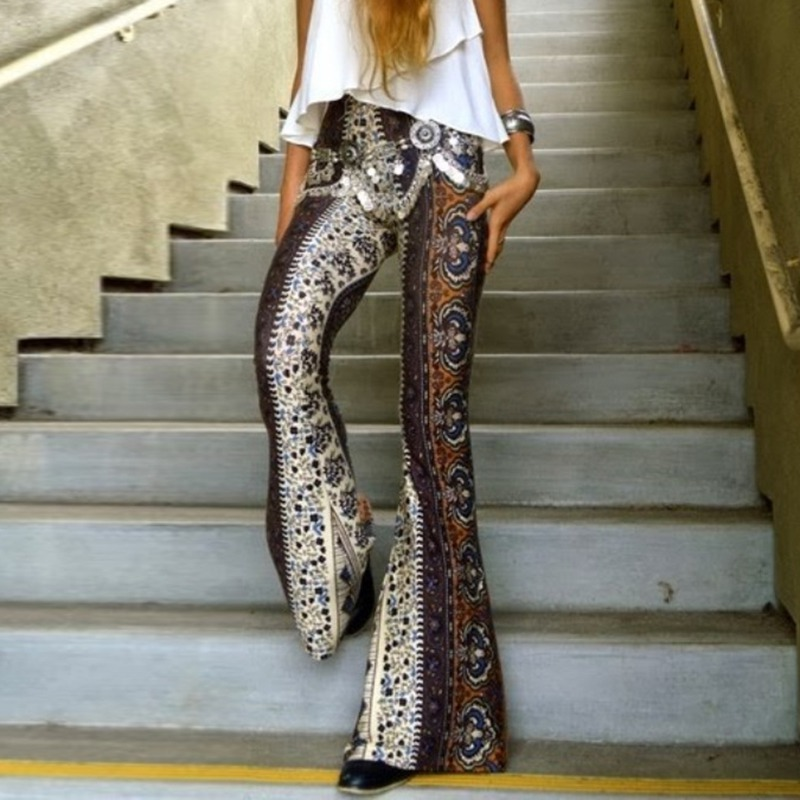 2019 Sexy Party Club Flare   Pants   Women Spring Fashion Floral Printed   Wide     Leg     Pants   Casual Slim Boho Hippie High Waist Trousers
