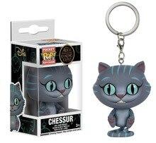 이상한 나라의 앨리스 귀여운 체셔 고양이 Chessur 포켓 팝 키 체인 보블 헤드 액션 피규어 소장 모델 완구 어린이를위한