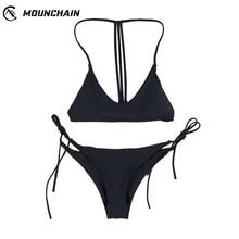 Women Sexy Pure Color Bikini Tie Rope Swimsuit Set Backless Brassiere & Briefs Bathing Suit Beach Wear burgundy sexy backless self tie bikini set