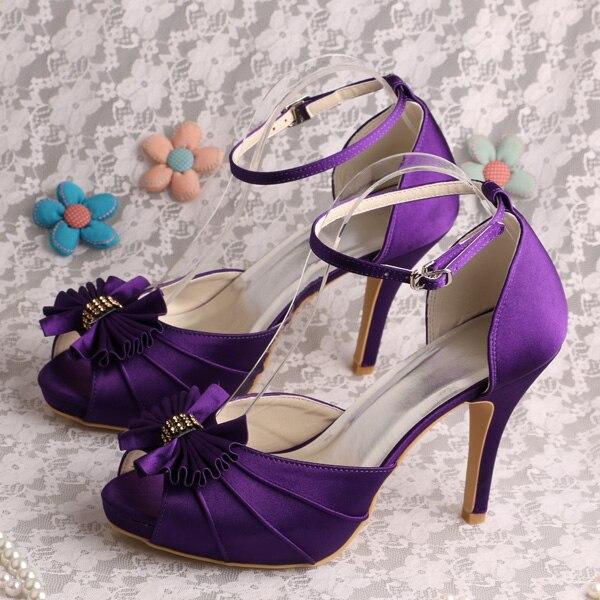 где купить Wedopus Customize Handmade Purple Bridal Party Shoes Peep Toes Dropship по лучшей цене