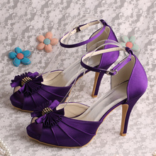 Wedopus Customize Handmade Purple Bridal Party Shoes Peep Toes Dropship