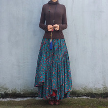 フラワープリントスカート 2020 ライン弾性ウエスト女性の秋の綿とリネンスカートプラスサイズ 新長期マキシ