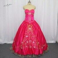 Красный Фуксия золото Вышивка дебютантка Сладкие 16 бальное платье Бальные платья vestidos de 15 anos princesa праздничное маскарадное платье