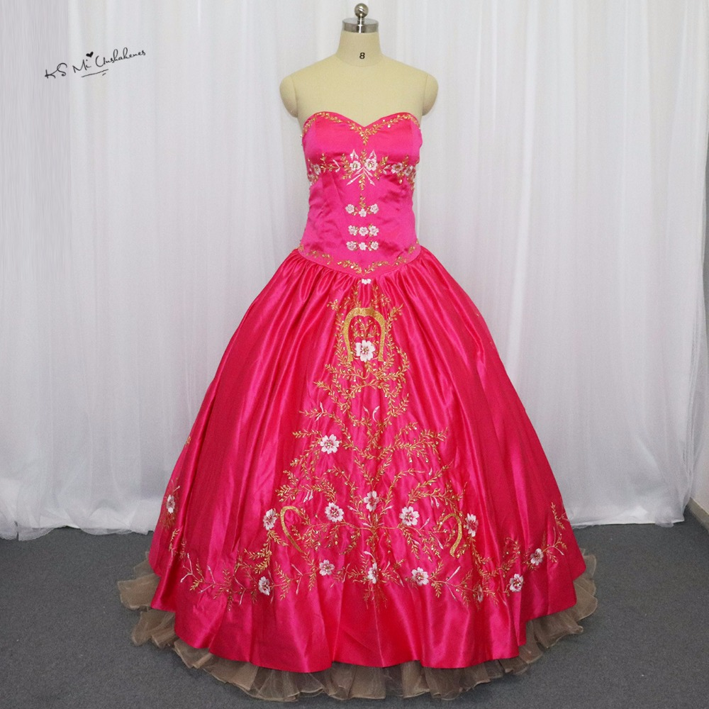Red Fuchsia Gold Embroidery Debutante Sweet 16 Ball Gown Quinceanera Dresses Vestidos de 15 anos Princesa Masquerade Party Dress