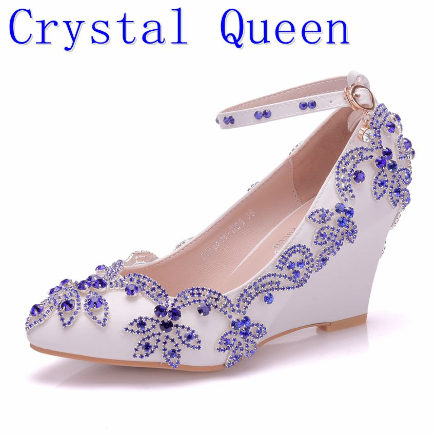 Crystal Queen New Fashion Blue Rhinestone Wedges Pumps Shoes Women Sweet Wedges Shoes Wedding heels High Heels Party Shoes