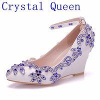 Kristall Königin Neue Mode Blau Strass Wedges Pumps Schuhe Frauen Süße Keilschuhe Hochzeit heels High Heels Party Schuhe