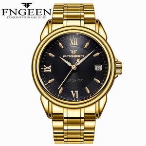 Image 5 - Montres mécaniques pour hommes marque de mode luxe Date calendrier montre bracelet homme automatique en acier montres squelette Relogio Masculino