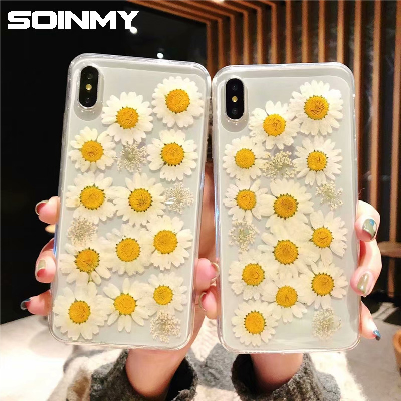 Dried Real Flowers Transparent phone case for iphone xr xs max x 6 6s 7 8 plus silicone soft TPU Glitter cover for iphone x case