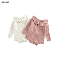 Milancel Knit Baby Bodysuits Winter Baby Girls Clothes Ruffle Collar Girls Bodysuits Kids Knitted Jumpsuits