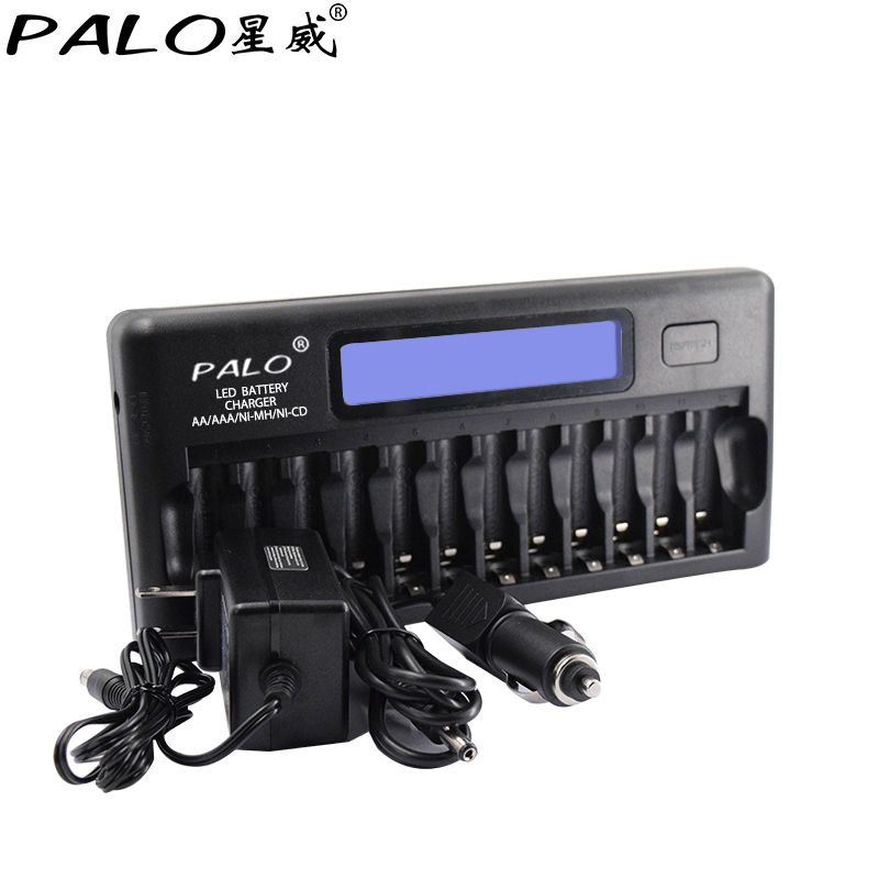 цена на Palo 12 Slots Smart LCD Built-In IC Protection Intelligent Rapid Battery Fast Charger for 12 Pcs 1.2V AA/AAA Ni-MH/Ni-CD