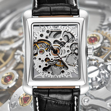 все цены на Square Mechanical Watches Mens Watches Brand Luxury Automatic Watch Golden Case Male Clock Black Mechanical Watch OUYAWEI онлайн