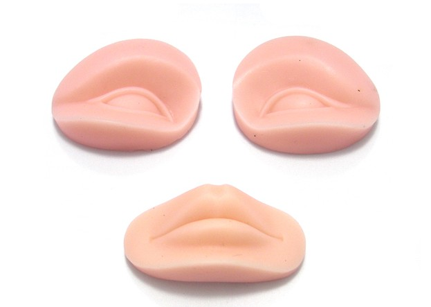 ФОТО 5 Sets 3D Permanent Makeup Practice Skin Replacement Parts Training Mannequin Head For Tattoo Practice Skin