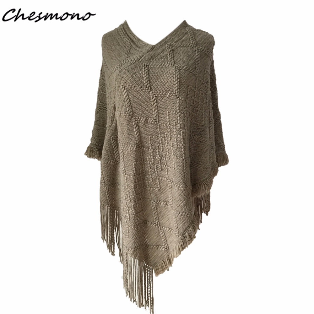 Women Cloak V Neck Sweaters Knit Batwing Top Poncho Coat Tassel Sweater Outwear Casual Loose Warm Wool Geometric Irregular Shawl