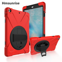 Hmsunrise Case For apple ipad air 1 Kids Safe Shockproof Heavy Duty Silicone Hard Cover for ipad 5 case with Wrist strap