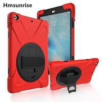 Hmsunrise Case עבור אפל ipad אוויר 1 ילדים בטוחים כבד עמיד הלם Duty סיליקון כיסוי קשיח עבור ipad 5 מקרה עם רצועת יד