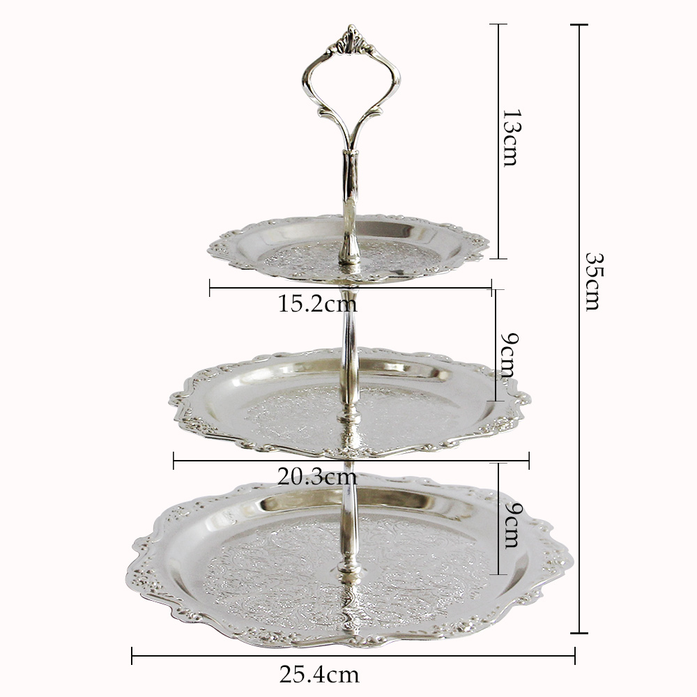 New 3 Tier Stainless Steel Serving Tray Cake Plate Stand Cupcake Fruit  XV44