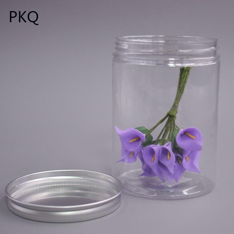 10 cm de diamètre Hauteur 15 cm En Aluminium couvercle transparent en plastique transparent bouteille Masque Pots En Plastique De Stockage De Poudre pot dans Cadeau Sacs et Emballage Fournitures de Maison & Jardin