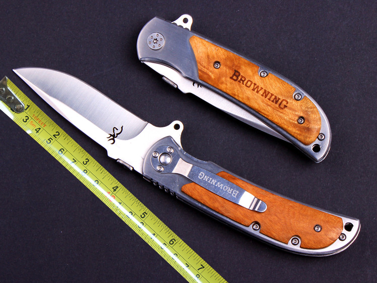 Glistening Browning Folding font b Knife b font Camping Survival font b Knives b font font