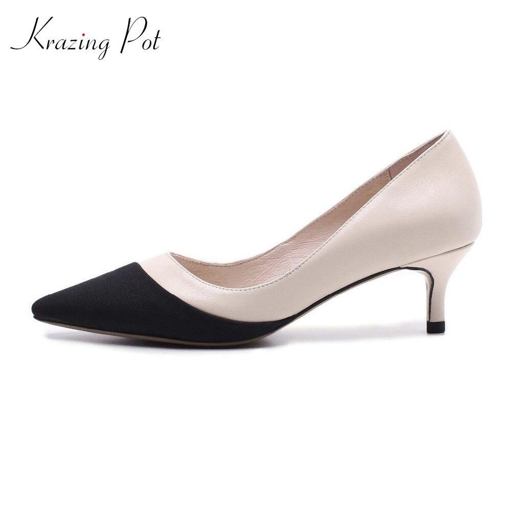 где купить Krazing Pot 2018 full grain leather shoes women thin high heels pumps slip on pointed toe European elegant mixed color shoes L86 по лучшей цене