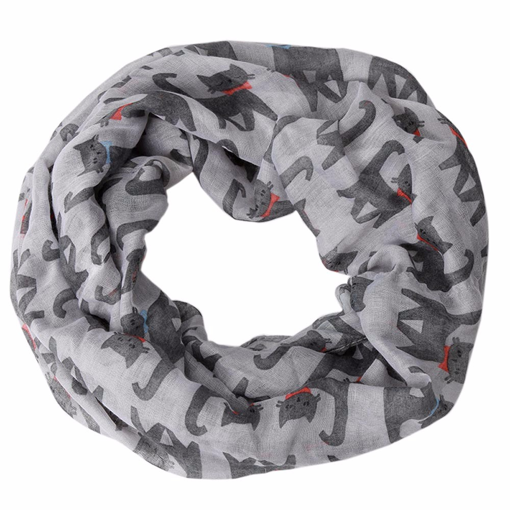 scarf   women Women Clothes Accessories Ladies Voile Cat Printed Ring Neck   Scarf     Wrap   hijab   scarf   Girl foulard femme #H20