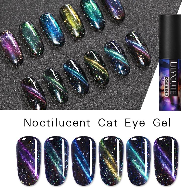 LILYCUTE 5ml Luminous Cat Eye UV Gel Polish Glow in The Dark 3D Magnetic Soak Off Nail Art Gel Lacquer in Nail Gel from Beauty Health