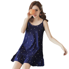 B1929 new sexy 2019 summer women lotus with cotton sleeping sweet lovely casual home dress cheap