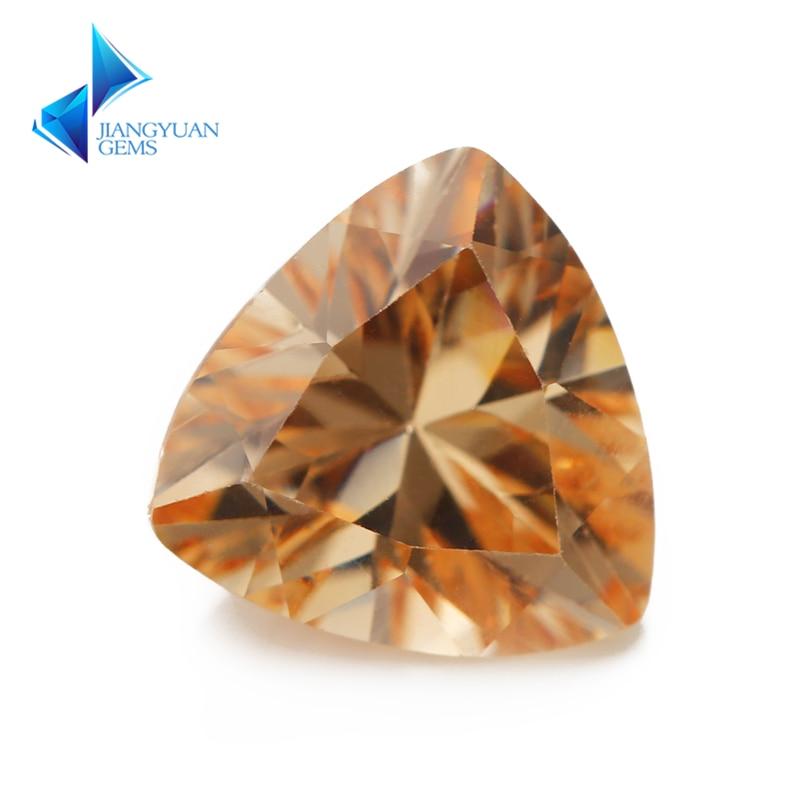 3x3 ~ 12x12mm Trillion forme 5A Champagne couleur CZ pierre synthétique gemmes cubique zircone pour bijoux bricolage