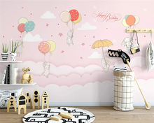 beibehang Custom hand-painted Nordic cloud rabbit children room decorative painting background papel de parede 3d wallpaper