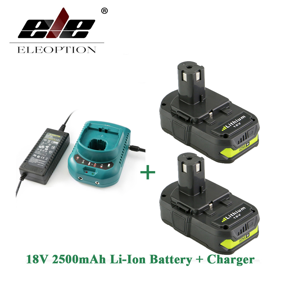 ELEOPTION 2PCS Rechargeable Battery For Ryobi RB18L25 18V 2500mAh Li-Ion P103 P104 P105 P108 + Charger eleoption 2pcs 18v 3000mah li ion power tools battery for hitachi drill bcl1815 bcl1830 ebm1830 327730