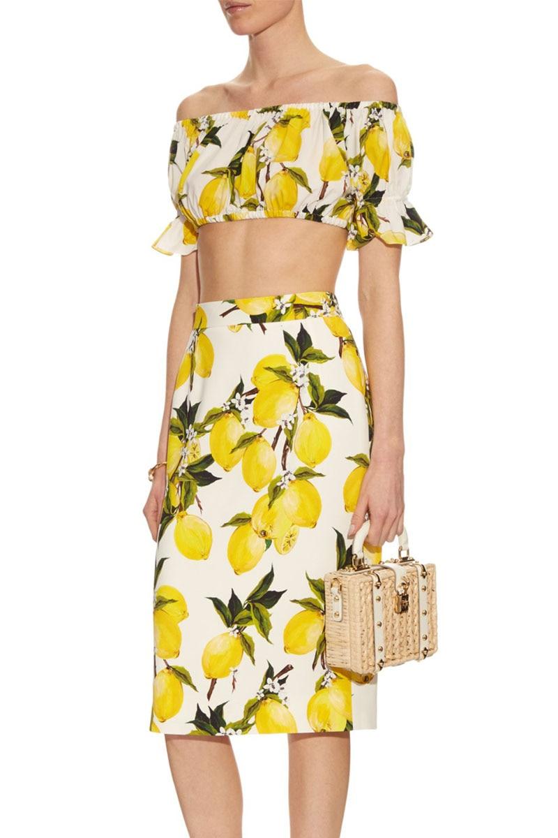 pencil skirt top 2 piece set women 2016 summer lemon print